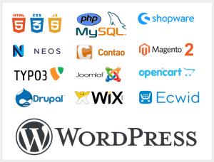 verschie3dene Logos von Content Management Systemen und Onlineshops