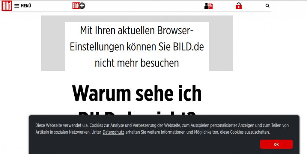 Auch bild.de verwendet noch fälschlicherweise eine Cookie-OptOut-Lösung und sperrt die Darstellung bei aktivem AdBlocker.